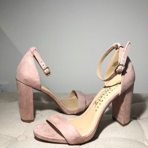 Blush Suede Chunky Ankle Strap Heels